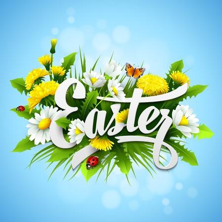 Illustration pour Title Easter with spring flowers. Vector illustration  - image libre de droit