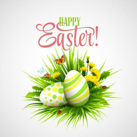 Illustration pour Easter card with eggs and flowers. Vector illustration  - image libre de droit