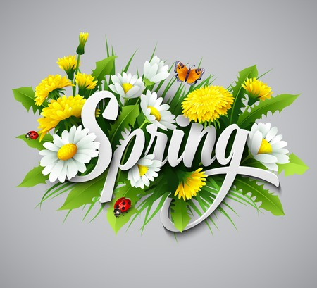 Ilustración de Fresh spring background with grass, dandelions and daisies - Imagen libre de derechos