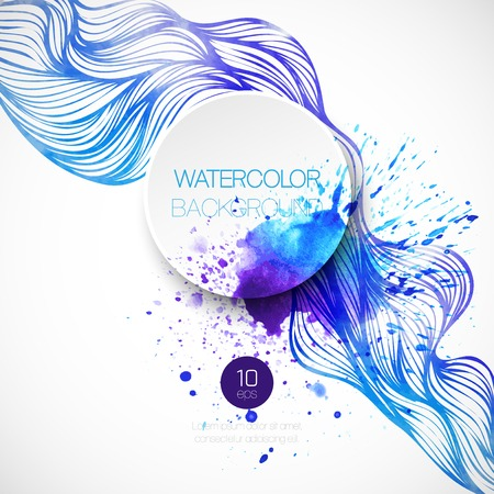 Illustration for Watercolor wave background. Vector illustration  - Royalty Free Image
