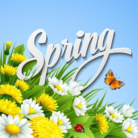 Illustration pour Fresh spring background with grass, dandelions and daisies - image libre de droit