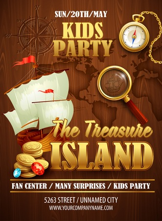 Illustration for Treasure Island party flyer. Vector template EPS 10 - Royalty Free Image