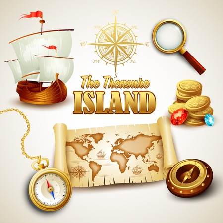 Illustration for Treasure Island. Vector icons set  - Royalty Free Image