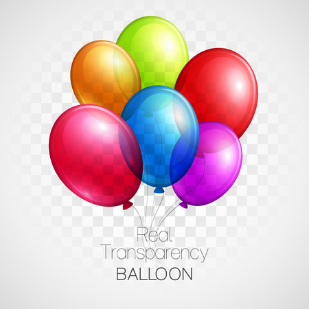 Illustration for Festive Balloons real transparency. Vector illustration EPS 10 - Royalty Free Image