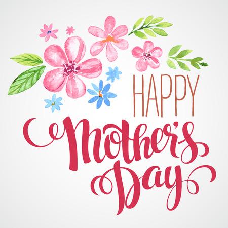 Illustration pour Happy Mothers Day. Hand-drawn card. Vector illustration  - image libre de droit