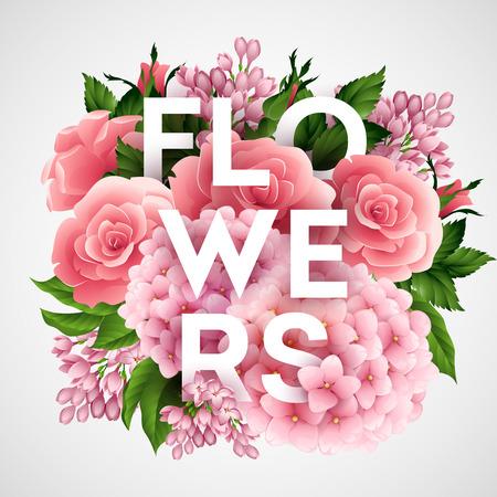 Ilustración de Stylish vector poster with beautiful flowers EPS 10 - Imagen libre de derechos