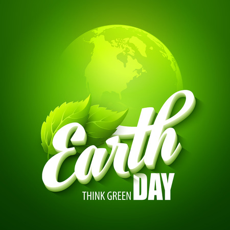 Illustration pour Earth Day. Vector illustration with the words, planets and green leaves EPS 10 - image libre de droit