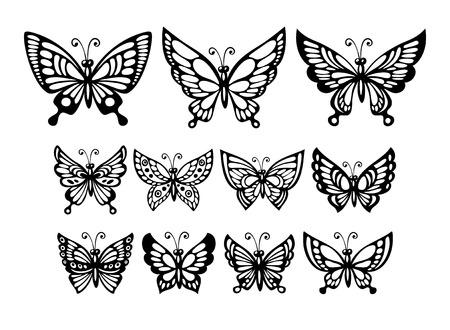 Ilustración de Set of silhouette  wonderful butterflies. Vector illustration  - Imagen libre de derechos