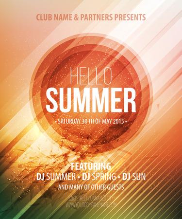 Illustration pour Summer party. Template poster. Vector illustration  - image libre de droit