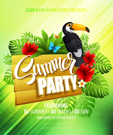 Illustration pour Summer party. Template poster. Vector illustration  - image libre de droit