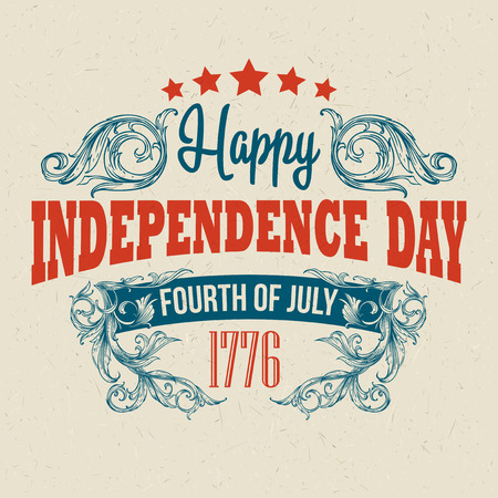 Illustration pour Retro typography card Independence Day. - image libre de droit
