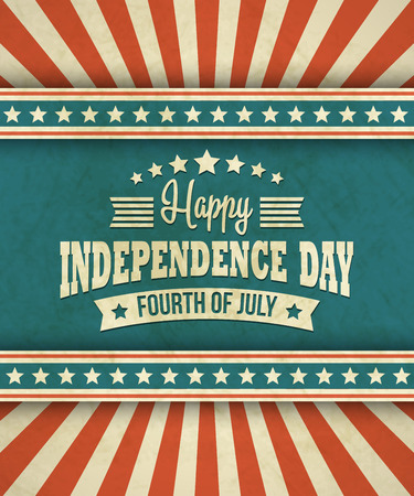 Illustration for Retro typography card Independence Day.  - Royalty Free Image