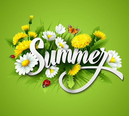 Illustration pour Fresh summer background with grass, dandelions and daisies  - image libre de droit