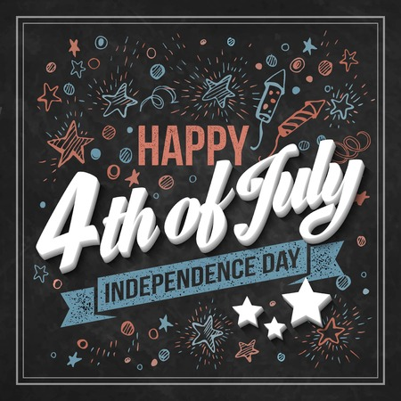 Ilustración de Typography card Independence Day. Chalk board. Vector illustration - Imagen libre de derechos