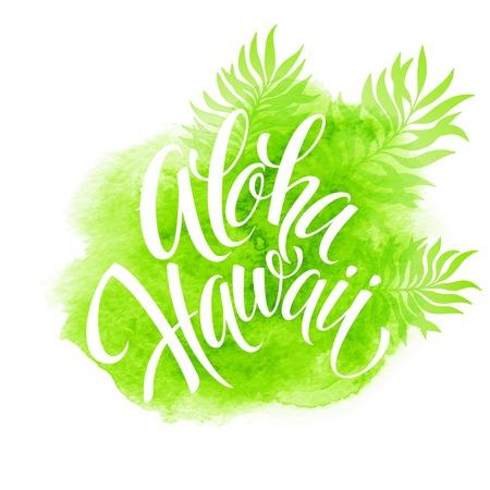 Illustration pour Aloha Hawaii illustration, palm leaves watercolor background  - image libre de droit