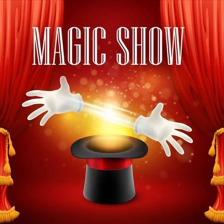 Ilustración de Magic trick performance, circus, show concept. Vector illustration EPS 10 - Imagen libre de derechos