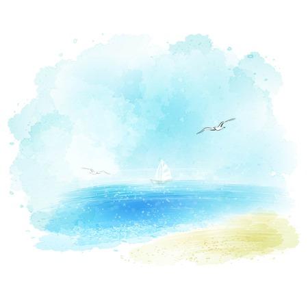Illustration pour Vector background of a watercolor seascape EPS 10 - image libre de droit