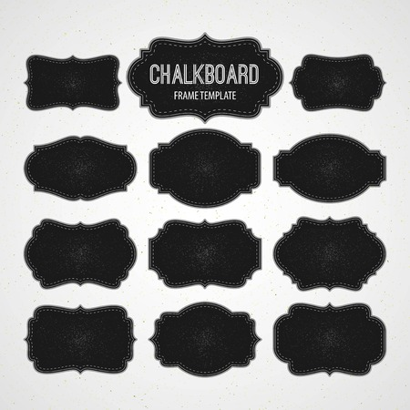 Illustration for Set of Chalkboard Frames and Labels. Vector illustration   - Royalty Free Image