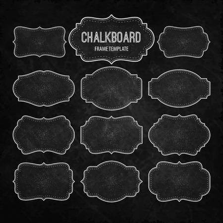 Ilustración de Set of Chalkboard Frames and Labels. Vector illustration   - Imagen libre de derechos