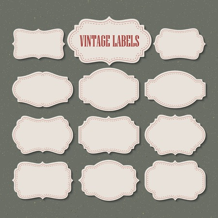 Illustration for Vector set vintage labels and frame. Vector illustration  - Royalty Free Image
