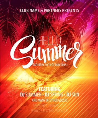 Ilustración de Hello Summer Beach Party Flyer. Vector Design  - Imagen libre de derechos