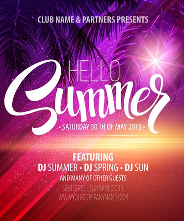 Illustration for Hello Summer Beach Party Flyer. Vector Design  - Royalty Free Image