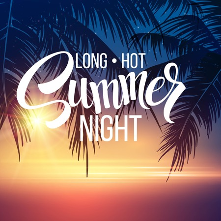 Illustration pour Summer Night. Palm trees  in the night. Vector illustration  - image libre de droit
