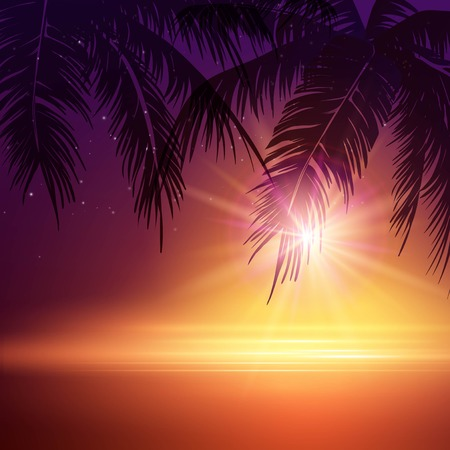 Illustration for Summer Night. Palm trees  in the night. Vector illustration  - Royalty Free Image