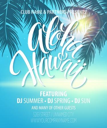 Illustration pour Aloha Hawaii  Summer Beach Party Poster. - image libre de droit