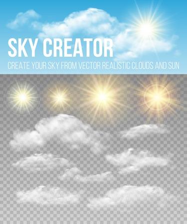 Illustration pour Sky creator. Set realistic clouds and sun.  - image libre de droit