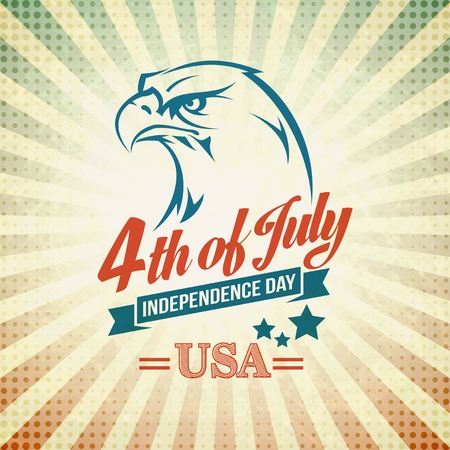 Illustration pour Independence Day holiday card with typography and an eagle. - image libre de droit