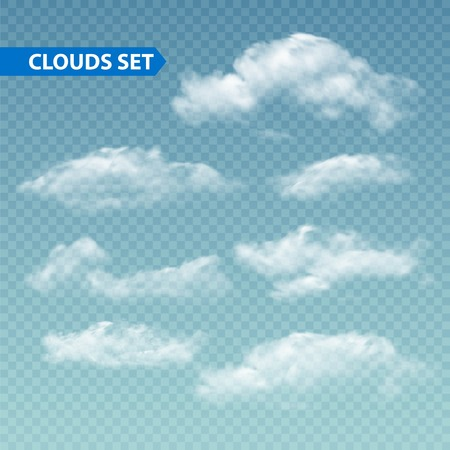 Foto per Set of transparent different clouds. Vector illustration  - Immagine Royalty Free