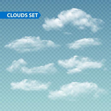 Illustration for Set of transparent different clouds. Vector illustration  - Royalty Free Image