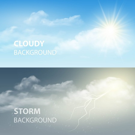 Ilustración de Thunder and lightning, sun and clouds. Weather background. Vector illustration  - Imagen libre de derechos