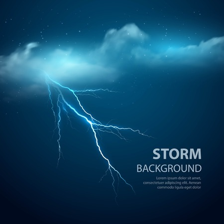 Illustration pour Thunderstorm Background With Cloud and Lightning, Vector Illustration.  - image libre de droit