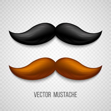 Illustration pour Brown, black  isolated mustaches set. Vector illustration EPS 10 - image libre de droit