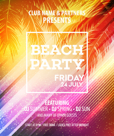 Illustration for Summer Beach Party Vector Flyer Template.  - Royalty Free Image