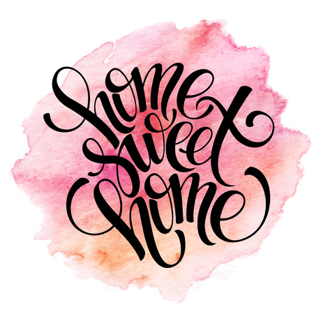 Ilustración de Home sweet home hand drawn inspiration lettering quote - Imagen libre de derechos