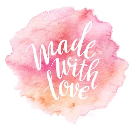 Illustration for Made with love watercolor lettering - Royalty Free Image