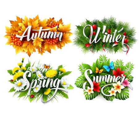Illustration pour Four Seasons Typographic Banner - image libre de droit