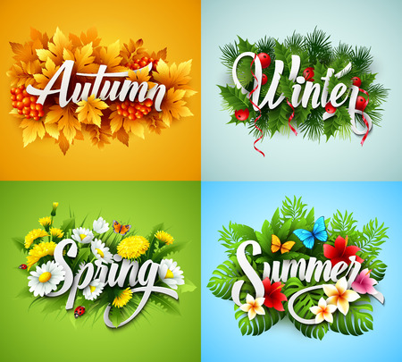 Illustration pour Four Seasons Typographic Banner - image libre de droit