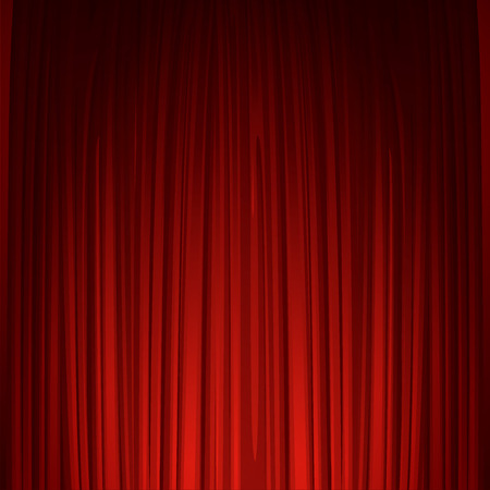 Illustration for Theater stage with red curtain - Royalty Free Image