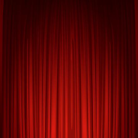 Ilustración de Theater stage with red curtain - Imagen libre de derechos
