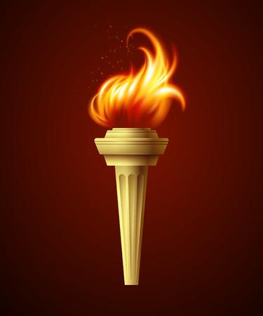 Ilustración de Realistic fire torch. Vector illustration  - Imagen libre de derechos