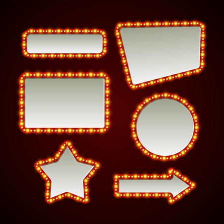 Illustration pour Set of retro light frames. Vector illustration  - image libre de droit