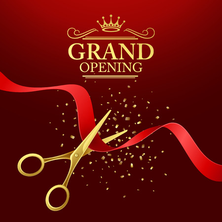 Illustration pour Grand opening illustration with red ribbon and gold scissors - image libre de droit