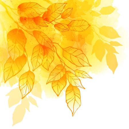 Illustration pour Fall leafs watercolor background - image libre de droit