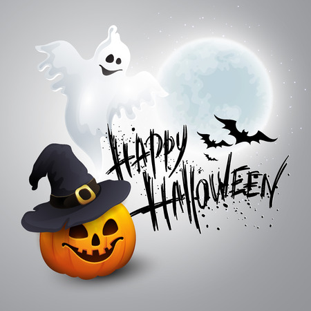 Illustrazione per Halloween Party Background with Pumpkin and Moon in the Back.  - Immagini Royalty Free