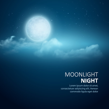 Illustration pour Night vector background, Moon, Clouds and shining Stars on dark blue sky.  - image libre de droit