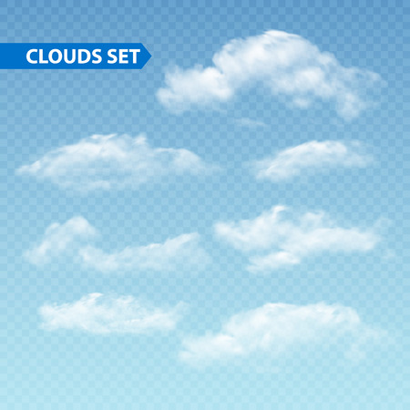 Ilustración de Set of transparent different clouds. Vector illustration EPS 10 - Imagen libre de derechos